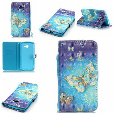 Buy BLUE AND GOLDEN New 3D Painted Pu Phone Case for Lg K5 / Q6 / X220g for $5.52 in GearBest store