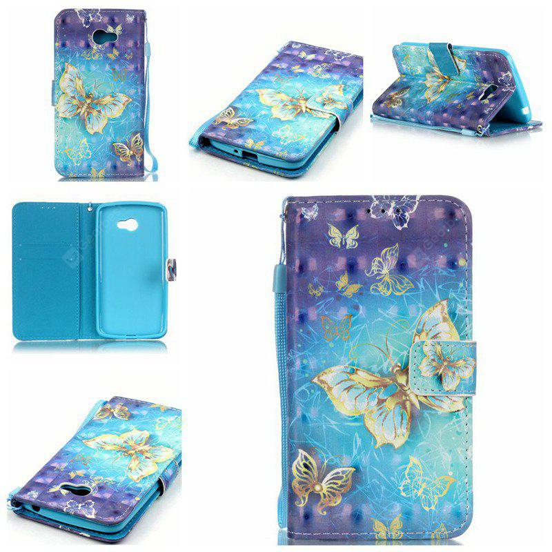 BLUE AND GOLDEN New 3D Painted Pu Phone Case for Lg K5 / Q6 / X220g