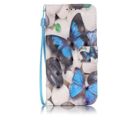 Buy WHITE + BLUE New 3D Painted Pu Phone Case for Samsung Galaxy S7 for $5.45 in GearBest store