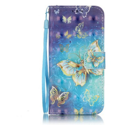 Buy BLUE AND GOLDEN New 3D Painted Pu Phone Case for Samsung Galaxy S7 for $5.45 in GearBest store