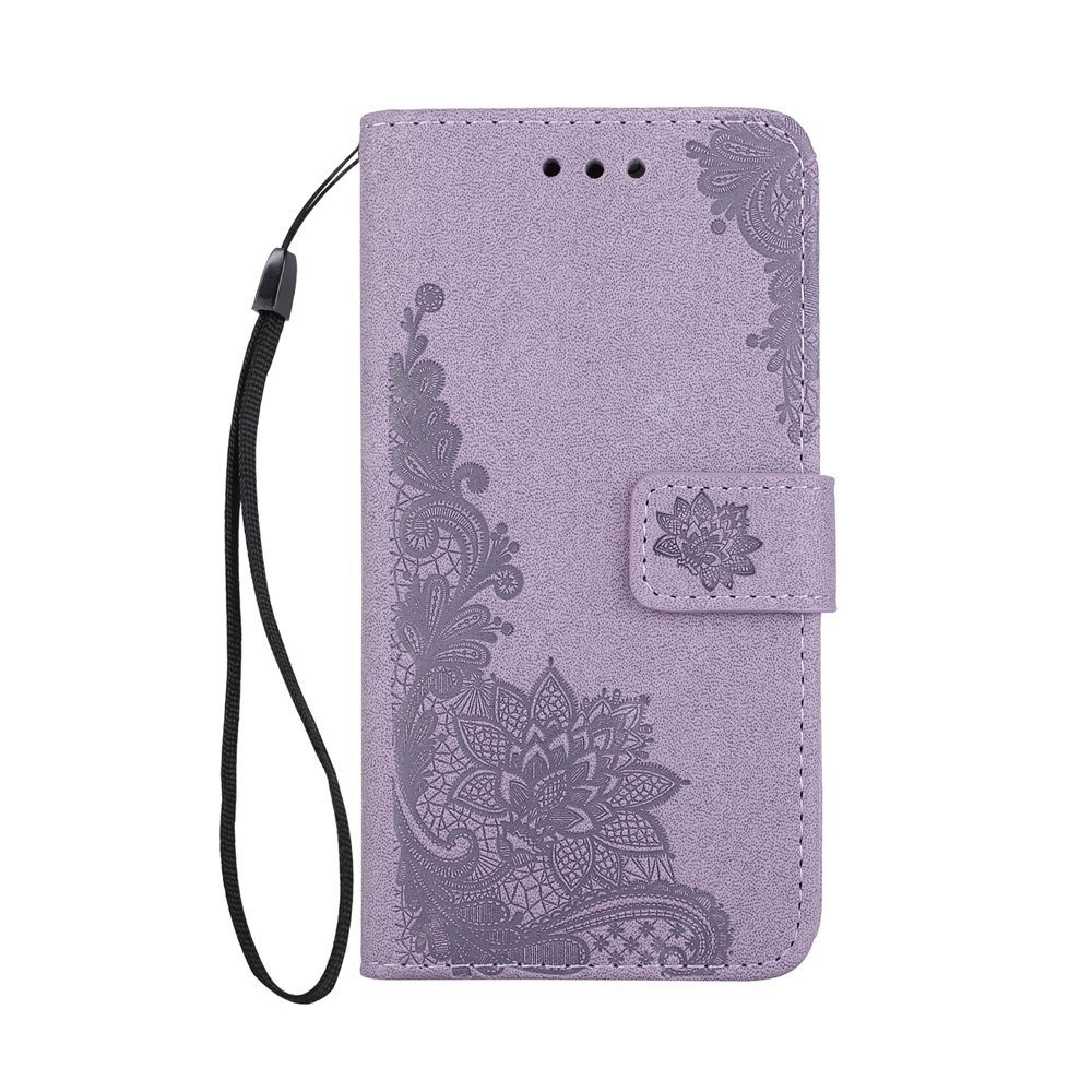 Wkae Phenix Flowers Embossing Pattern Faux Leather Horiontal Folio Stand Case with Lanyard Card Slots for Samsung Galaxy J5 2017 European Edition