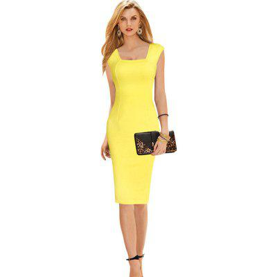 Buy YELLOW S Womens Dress Square Neck Sleeveless Solid Sheath Dress for $21.84 in GearBest store