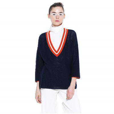 Toyouth Knitted Sweater Elegant V-Neck Three Quarter Sleeve Pullovers Sweaters