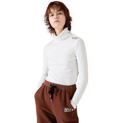 Toyouth T-Shirts Turtleneck Casual Embroidery Long Sleeve Tees Tops
