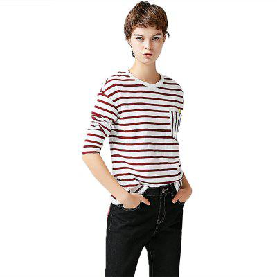 Toyouth Striped Pattern O-Neck Long Sleeve Casual Shirt Cotton Elegant Ladies Tees Tops