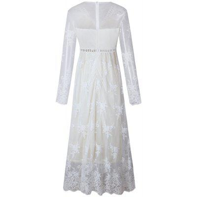 Hollow Out Long Sleeve White DressMaxi Dresses<br>Hollow Out Long Sleeve White Dress<br><br>Dresses Length: Ankle-Length<br>Elasticity: Nonelastic<br>Fabric Type: Broadcloth<br>Material: Polyester<br>Neckline: V-Neck<br>Package Contents: 1 ? Dress<br>Pattern Type: Solid<br>Season: Fall<br>Silhouette: A-Line<br>Sleeve Length: Long Sleeves<br>Style: Fashion<br>Weight: 0.4000kg<br>With Belt: No