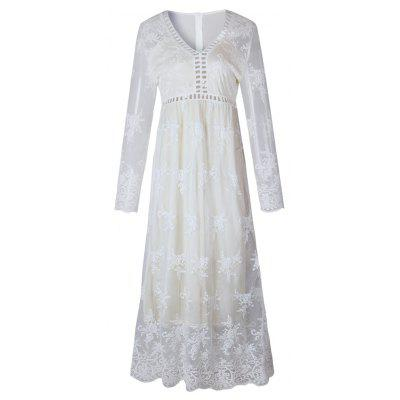 Hollow Out Long Sleeve White Dress