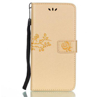 Wkae Double-side Embossing Rose Flower Synthetic Leather Wallet Case Soft Silicone Back Cover with Flip Kickstand and Lanyard for Samsung Galaxy J7 2017