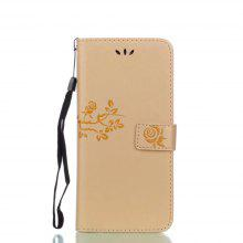 Wkae Double-side Embossing Rose Flower Synthetic Leather Wallet Case Soft Silicone Back Cover with Flip Kickstand and Lanyard for Samsung Galaxy S8 Plus