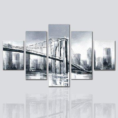 Buy 混合色(COLORMIX) Hx-Art Unframed Canvas Five-Set Painting Building Street Bridge Decorative Paintings for $32.14 in GearBest store