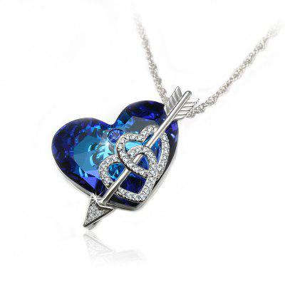 Veecans Heart of The Ocean Pendant Necklace Made with Blue Top Crystal Brass Rhodium Plated