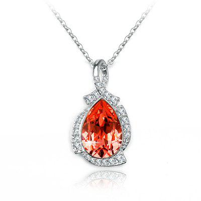 Veecans Fashion Teardrop Pendant Necklace Made with Red Top Crystal Brass Rhodium Plated
