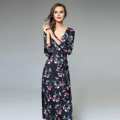 Retro V-Neck Long Sleeve Printed Long DressMaxi Dresses<br>Retro V-Neck Long Sleeve Printed Long Dress<br><br>Dresses Length: Ankle-Length<br>Elasticity: Micro-elastic<br>Embellishment: Sashes<br>Fabric Type: Cotton and kapok hemp<br>Material: Cotton, Polyester<br>Neckline: V-Neck<br>Package Contents: 1 x Dress<br>Pattern Type: Print<br>Season: Spring, Fall, Winter<br>Silhouette: Sheath<br>Sleeve Length: Long Sleeves<br>Style: Vintage<br>Weight: 0.3700kg<br>With Belt: Yes