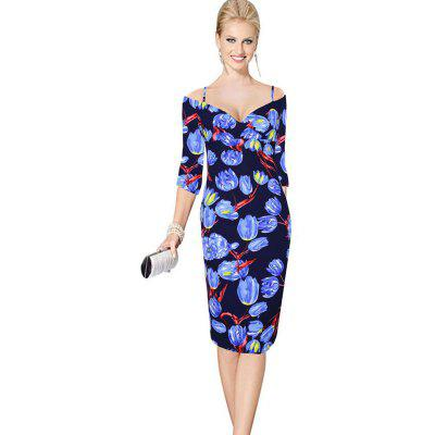 Buy BLUE S Womens Sheath Dress V Neck Half Sleeve Floral Pattern Midi Pencil Dress for $24.84 in GearBest store