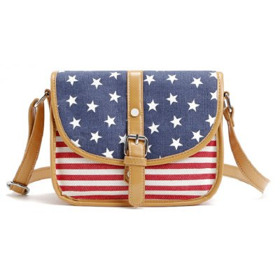 Buy AS THE PICTURE 1PC New Fashion Disigner Womens Us Flag Leather with Canvas Patchwork Handbags Shoulder Bags for Women Messenger Bags for $15.82 in GearBest store