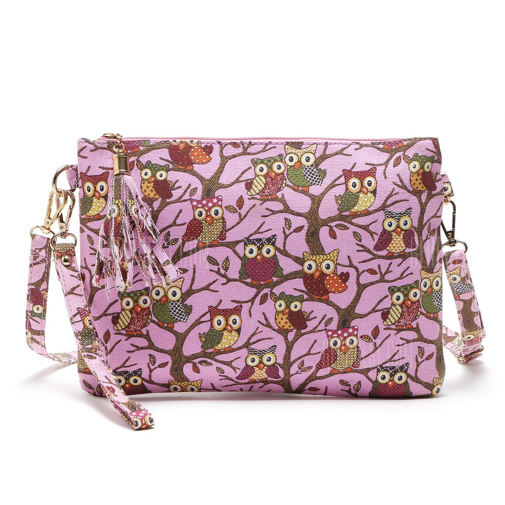 Buy Owl Bag Women Canvas Tassel Cartoon Printed Lady Crossbody Shoulder Bags Small Cute Clutches Handbag Bolsas Feminina 1PC ROSE RED