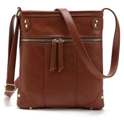 Buy COFFEE 1PC Women Bag New Fashion Women Messenger Bags Rivet Shoulder Bag High Quality Pu Leather Crossbody Shoulder Bags for $15.07 in GearBest store