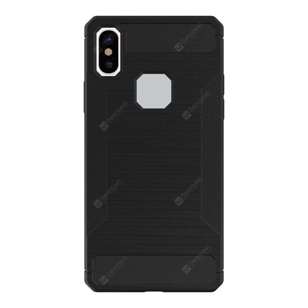 Mini Smile Anti-Slip Wire Drawing Carbon Fiber + Tpu Style Protective Back Case Cover for Iphone x