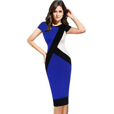 2017 Optical Illusion Patchwork Contrast New Style Women Elegant Slim Casual Work Office Business Party Bodycon Pencil Dress guess new white illusion panel halter dress msrp $129 dbfl