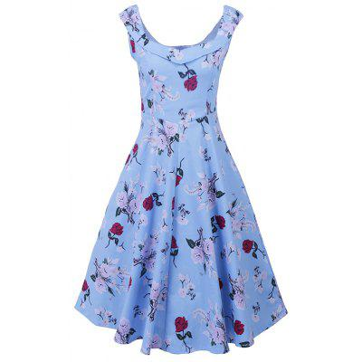 Buy SKY BLUE M Audrey Hepburn Floral Robe Retro Swing 50S Vintage Dresses Women Summer Dress Casual A Line Dress Plus Size for $27.88 in GearBest store