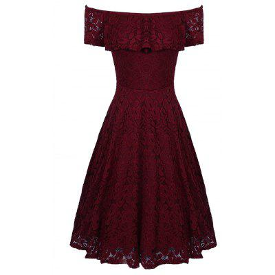 Buy WINE RED S Sexy Off Shoulder Floral Lace Party Swing Dresses Women Dress Cascading Ruffle Lace Casual Formal A Line Dress for $27.18 in GearBest store