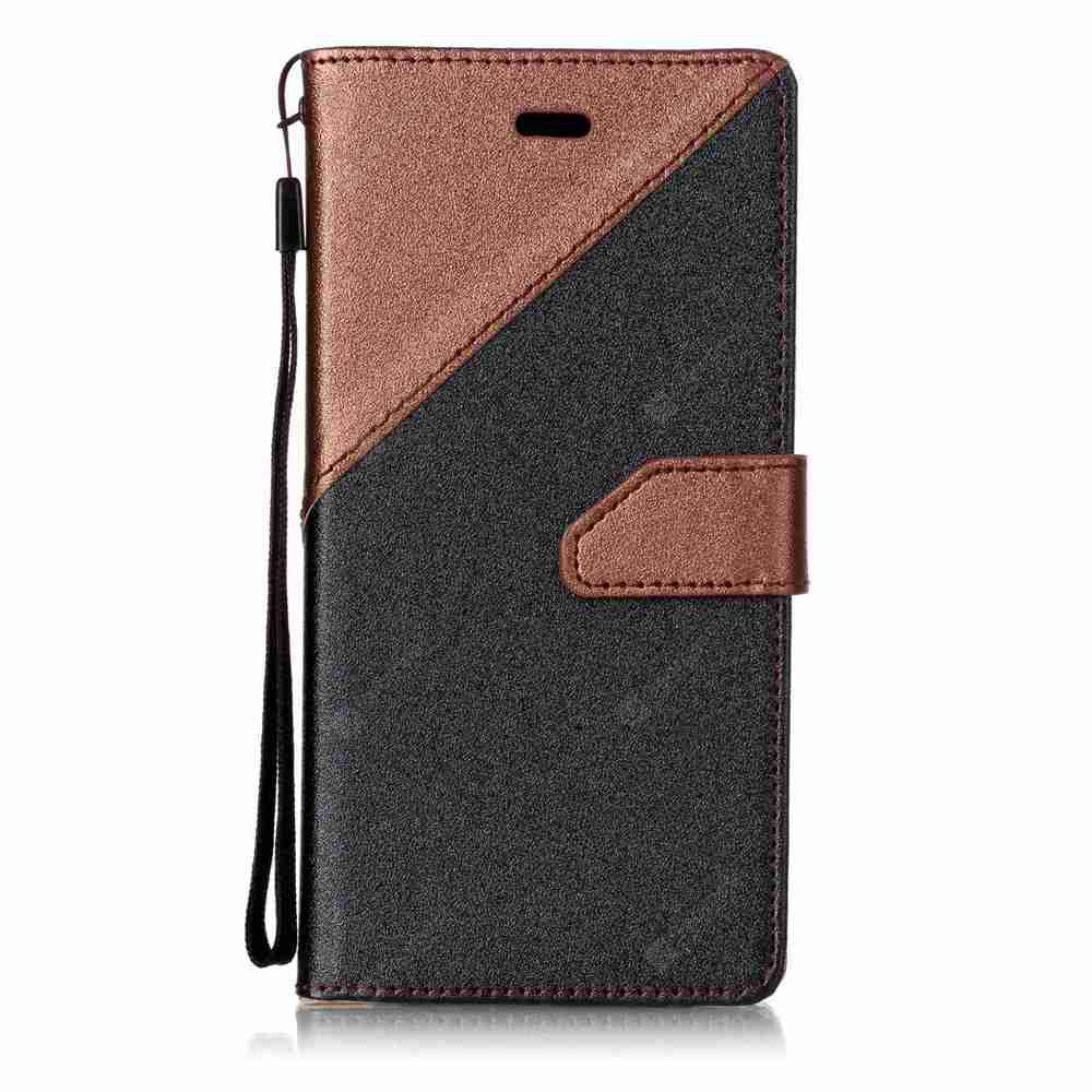 Stitching Style Golden Beach Pu Phone Case for Huawei P8 Lite 2017