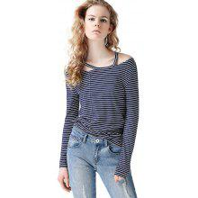 Toyouth T Shirt Hollow Out Striped Cold Shoulder Tops O-Neck Casual Long Sleeve Tee