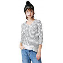 Toyouth T Shirt Woman V-Neck Cotton Solid Long Sleeve Tees Casual Stripe Tee Girl Tops