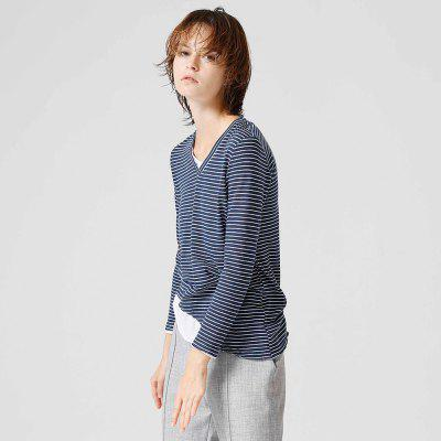 Toyouth T Shirt Woman V-Neck Cotton Solid Long Sleeve Tees Casual Stripe Tee Girl TopsTees<br>Toyouth T Shirt Woman V-Neck Cotton Solid Long Sleeve Tees Casual Stripe Tee Girl Tops<br><br>Collar: V-Neck<br>Elasticity: Micro-elastic<br>Embellishment: Spliced<br>Fabric Type: Twill<br>Material: Cotton<br>Package Contents: 1 x T Shirt<br>Pattern Type: Striped<br>Shirt Length: Regular<br>Sleeve Length: Full<br>Style: Casual<br>Weight: 0.4000kg