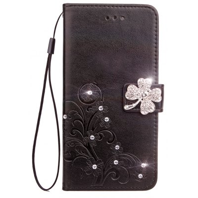 Yc Lucky Clover Stick Drill Card Lanyard Pu B Leather for Samsung S8 Plus