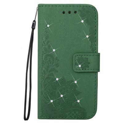 Wkae Embossed Phenix Flower Bling Shining Resin Rhinestone Pattern PU Leather Wallet Case with Lanyard Card Slots for Samsung Galaxy A5 2017