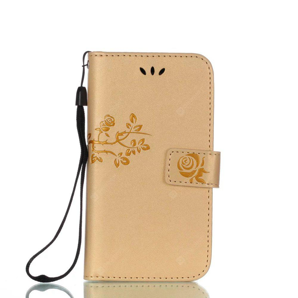 Wkae Double Side Embossing Rose Flower Synthetic Leather Wallet Case Soft Silicone Back Cover with Flip Kickstand And Lanyard for Samsung Galaxy A3 2017