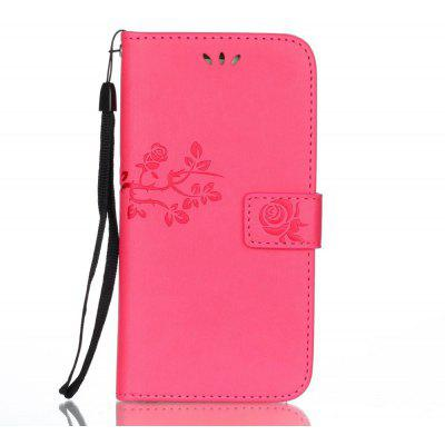 Wkae Double Side Embossing Rose Flower Synthetic Leather Wallet Case Soft Silicone Back Cover with Flip Kickstand And Lanyard for Samsung Galaxy A5 2017