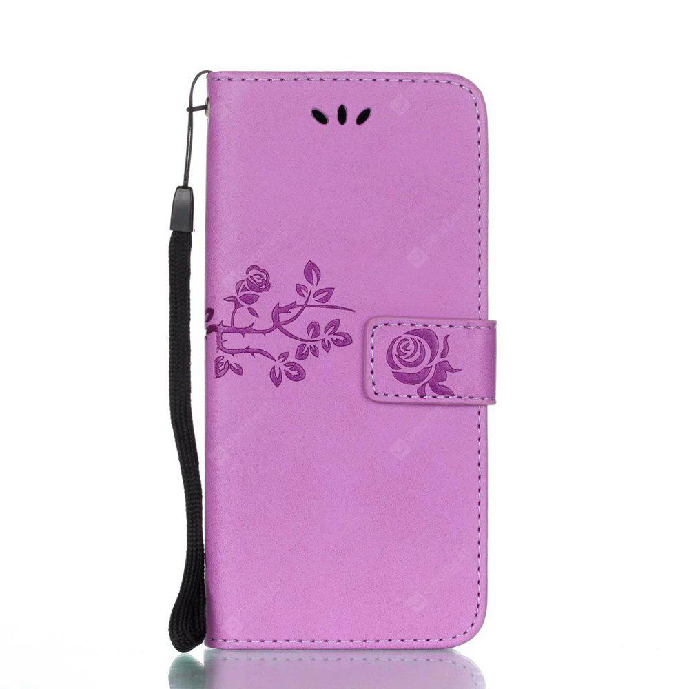 Wkae Double Side Embossing Rose Flower Synthetic Leather Wallet Case Soft Silicone Back Cover with Flip Kickstand And Lanyard for Samsung Galaxy S8