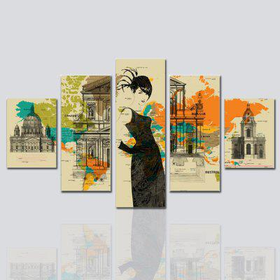 Hx-Art No Frame Canvas Five-Character, Architectural Living Room Decoration