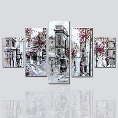 Hx-Art No Frame Canvas Cherry Street Five-Set Painting Paris Decorative Painting