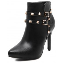 Womens Solid Color Pointed Toe Rivet Thin High Heel Shoes
