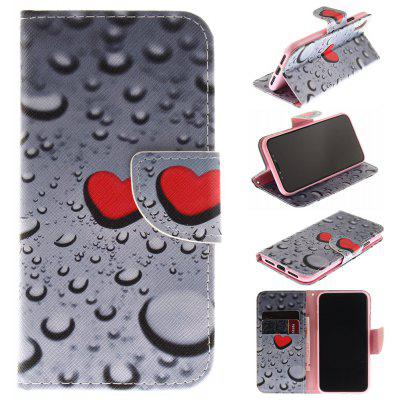 Water Droplets Pattern Pu+Tpu Leather Wallet Case with Card Holder/Magnetic Closure Flip Cover for Iphone x