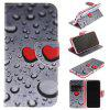 Water Droplets Pattern Pu+Tpu Leather Wallet Case with Card Holder/Magnetic Closure Flip Cover for Iphone x - BLACK