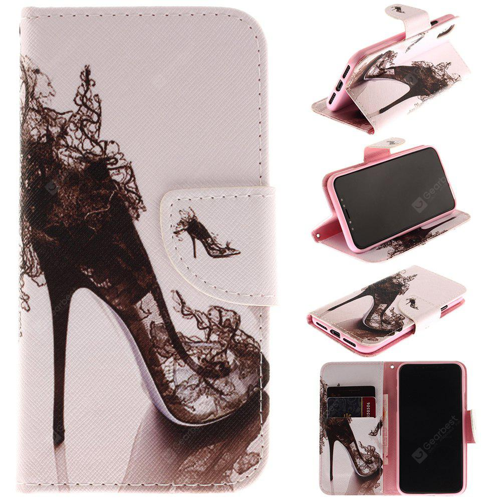 High Heel Pattern Pu+Tpu Leather Wallet Case with Card Holder/Magnetic Closure Flip Cover for Iphone x