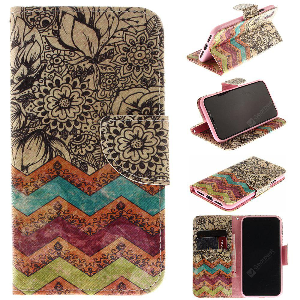 Flower Pattern Pu+Tpu Leather Wallet Case with Card Holder/Magnetic Closure Flip Cover for Iphone x