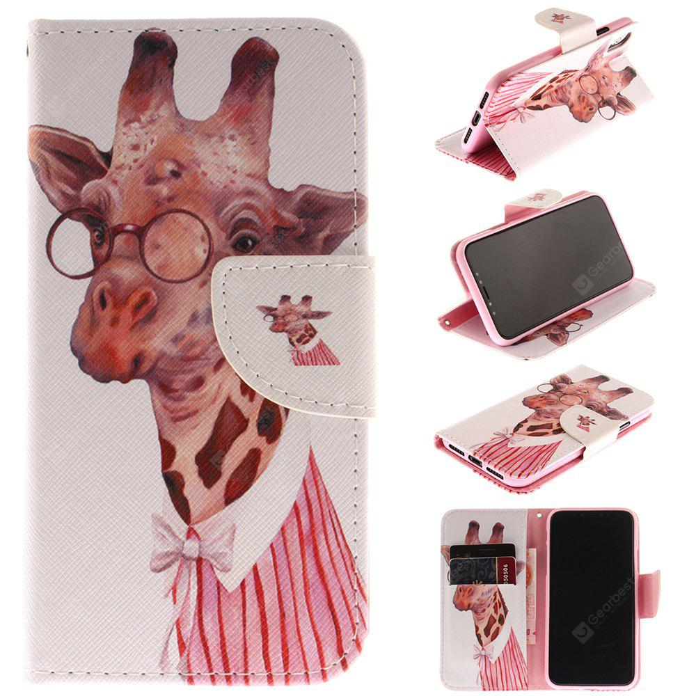 Giraffe Pattern Pu+Tpu Leather Wallet Case with Card Holder/Magnetic Closure Flip Cover for Iphone x