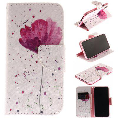 Purple Orchid Patternpu+Tpu Leather Wallet Case with Card Holder/Magnetic Closure Flip Cover for Iphone x