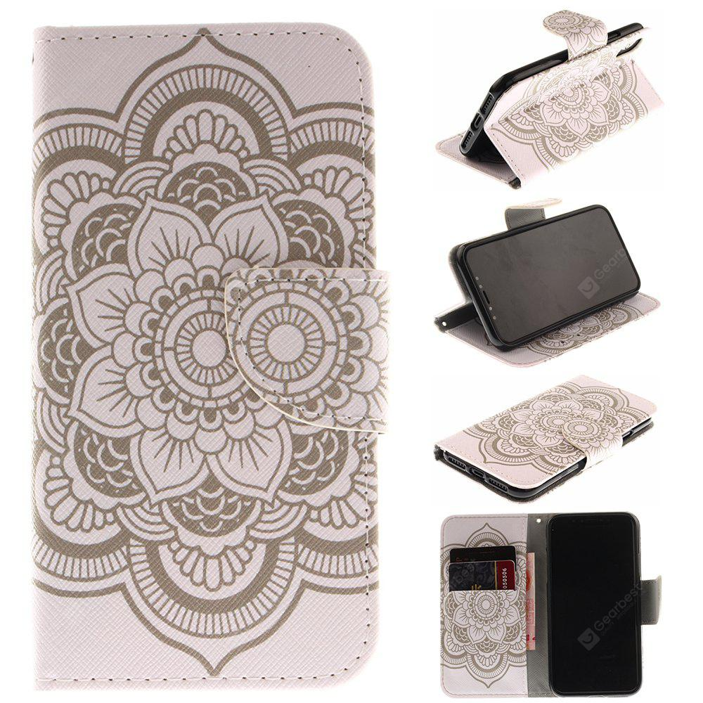 White Flowers Pu+Tpu Leather Wallet Case with Card Holder/Magnetic Closure Flip Cover for Iphone x