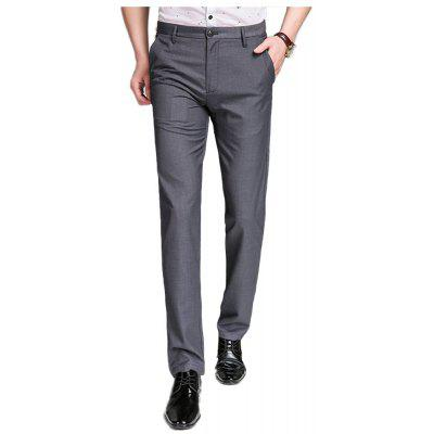 Baiyuan Trousers Bussiness Casual Slim Fit Mens Suit Pants Grey
