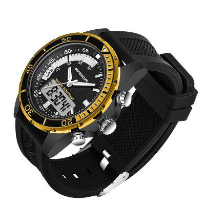 Sanda 003 5296 Leisure Sports Double Movement Male WatchMens Watches<br>Sanda 003 5296 Leisure Sports Double Movement Male Watch<br><br>Band material: Silicone<br>Band size: 25 x 2.2cm<br>Brand: Sanda<br>Case material: Alloy<br>Clasp type: Pin buckle<br>Dial size: 4.5 x 4.5 x 1.1cm<br>Display type: Analog<br>Movement type: Quartz + digital watch<br>Package Contents: 1 x Watch, 1 x Watch Box<br>Package size (L x W x H): 28.00 x 8.00 x 3.50 cm / 11.02 x 3.15 x 1.38 inches<br>Package weight: 0.1150 kg<br>Product size (L x W x H): 25.00 x 4.50 x 1.10 cm / 9.84 x 1.77 x 0.43 inches<br>Product weight: 0.0850 kg<br>Shape of the dial: Round<br>Watch mirror: Acrylic<br>Watch style: Fashion, Trends in outdoor sports, Casual<br>Watches categories: Men<br>Water resistance: 30 meters