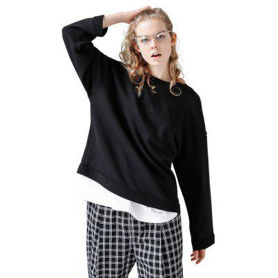 Toyouth Sweatshirts Casual Loose Letters Embroidery Pullover Hoodies