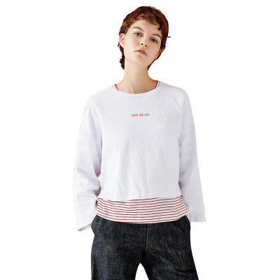 Toyouth Print Letter Three Quarter Sleeve O-Neck T-Shirts Fashion Cotton Casual Loose Tees