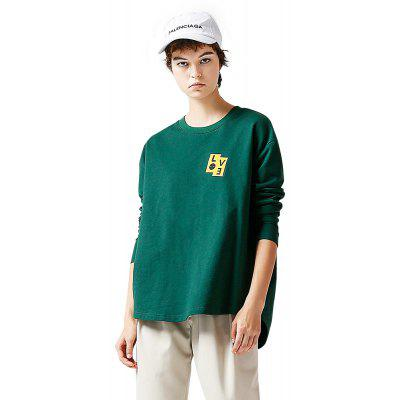 Toyouth Letter Printed T-shirt Loose Pullover Female Long Sleeve Tee Tops