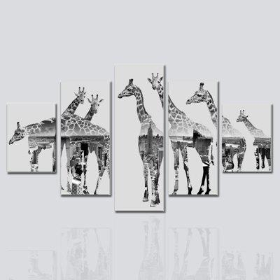 HX-ART No frame canvas five animals giraffe living room decoration hanging painting